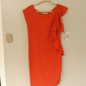 Zara Basic Red Dress w side zipper and ruffles